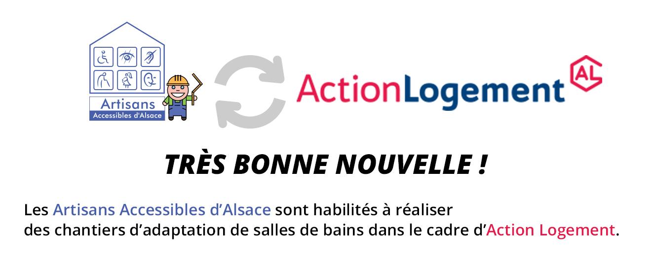 Les <strong>Artisans Accessibles d'Alsace</strong> habilités à réaliser des <strong>chantiers d'adaptation de salles de bains</strong> dans le cadre d'<strong>Action Logement</strong>.
